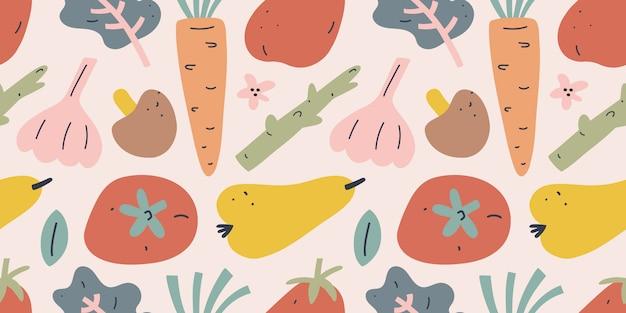 Ilustración de vegetales y frutas, patrones sin fisuras