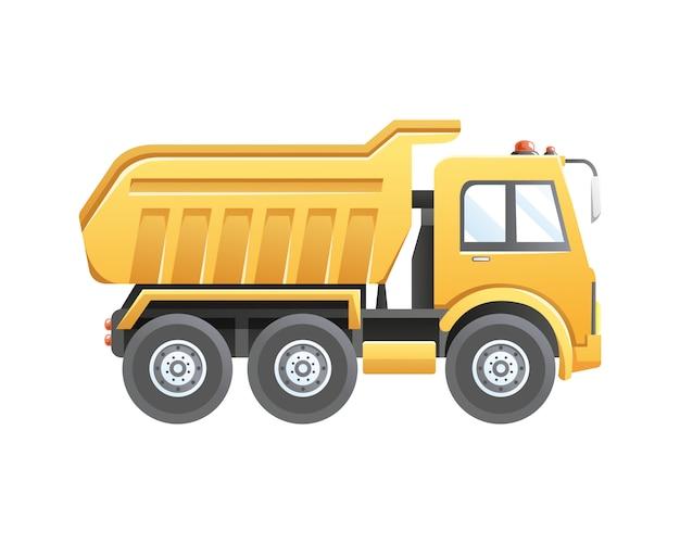 Ilustración vehículo de construcción de camión volquete