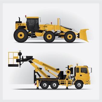 Ilustración de vehículos de construcción