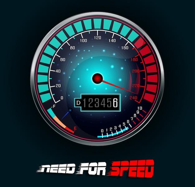 Ilustración del velocímetro del coche de carreras