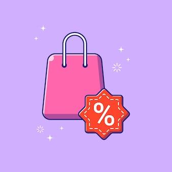 Ilustración de venta de descuento de bolsa de compras. concepto de icono de promoción de descuento aislado.