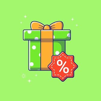 Ilustración de venta de descuento de caja de regalo. concepto de icono de promoción de descuento de caja presente aislado.