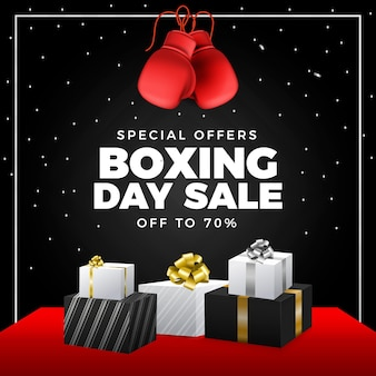 Ilustración de venta de día de boxeo realista