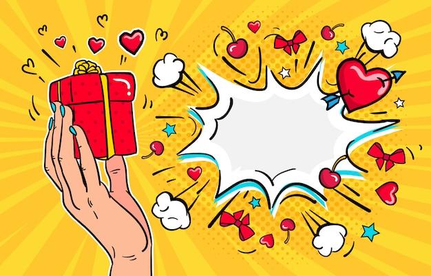 Ilustración de venta de feliz día de san valentín, niña sostiene un regalo.