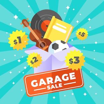 Ilustración de venta de garaje cocept