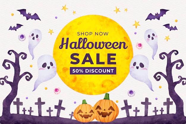 Ilustración de venta de halloween en acuarela vector gratuito