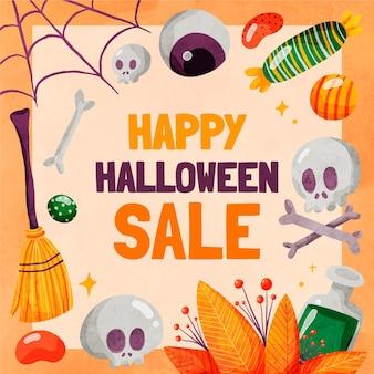 Ilustración de venta de halloween en acuarela