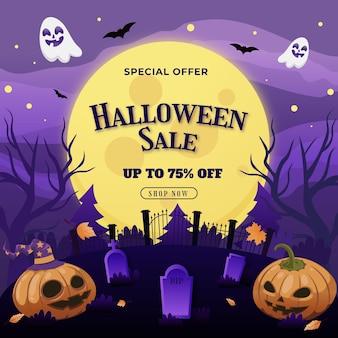 Ilustración de venta de halloween degradado