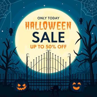 Ilustración de venta de halloween espeluznante de diseño plano