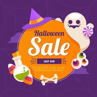 Ilustración de venta de halloween plana