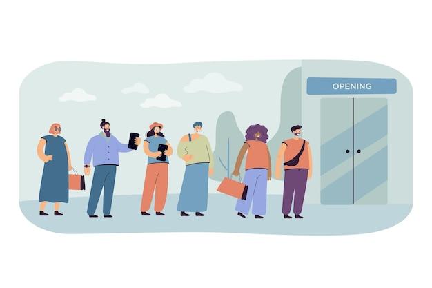 Ilustración de venta. línea de clientes esperando la apertura de la tienda.