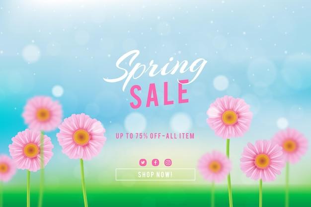 Ilustración de venta de primavera borrosa realista