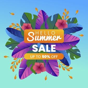 Ilustración de venta de verano gradiente hola
