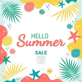 Ilustración de venta de verano hola plana