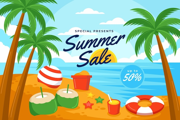Ilustración de venta de verano plana