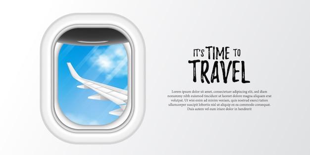 Ilustración de la ventana del avión ojo de buey con cielo azul y vista de ala de avión.