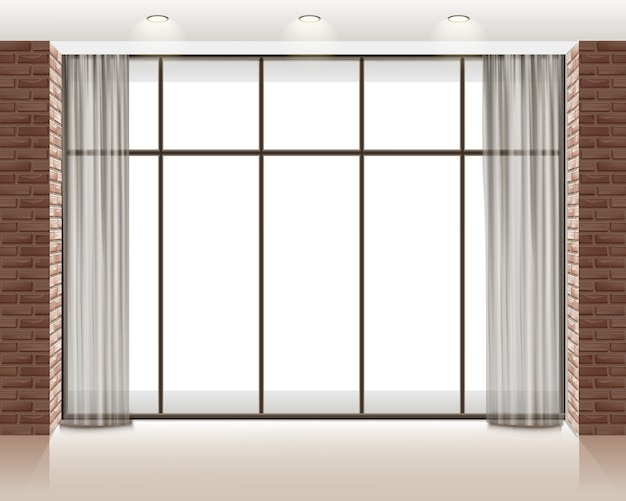 Ilustración de ventana grande dentro de una habitación loft vacía con pared de ladrillos