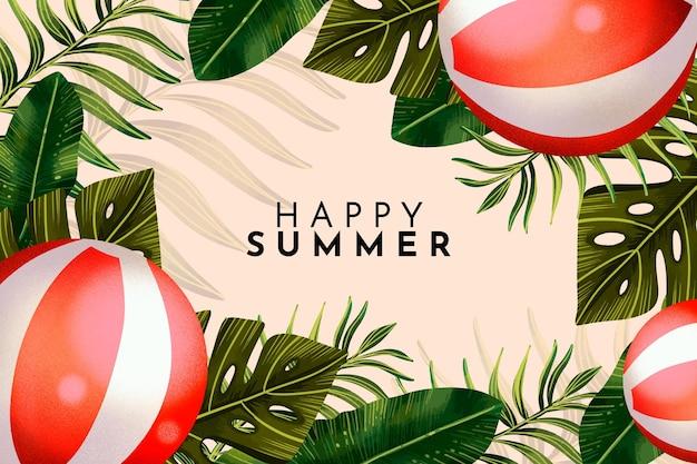 Ilustración de verano acuarela pintada a mano
