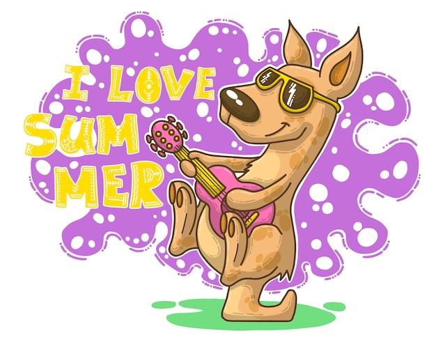 Ilustración de verano con canguro.