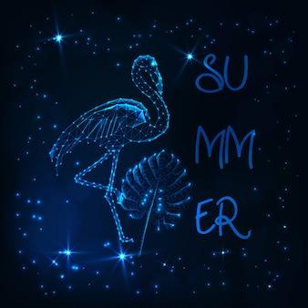 Ilustración de verano con flamenco de polietileno brillante, hoja de monstera tropical