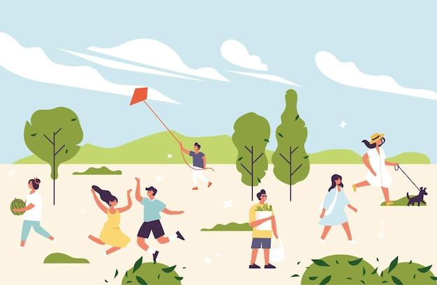 Ilustración de verano con gente disfrutando y relajándose al aire libre en el parque