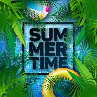 Ilustración de verano con hojas de palmera tropical y flotador