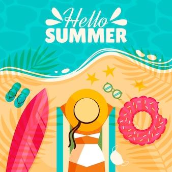Ilustración de verano hola plana