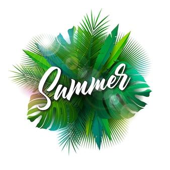 Ilustración de verano con letra de tipografía y plantas tropicales.