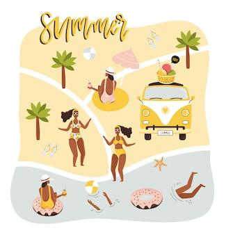Ilustración de verano con mapa y personas.
