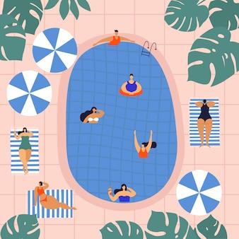 Ilustración de verano con mujeres hermosas jóvenes para tomar el sol cerca de la piscina.