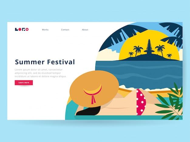 Ilustración de verano para la página de destino