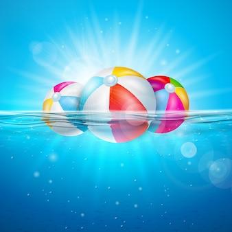 Ilustración de verano con pelota de playa en el fondo del océano azul submarino.