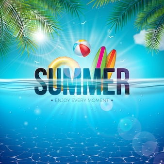 Ilustración de verano con pelota de playa y paisaje submarino de océano azul