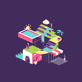 Ilustración de verano con personas y actividades recreativas.