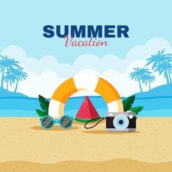 Ilustración de verano plana
