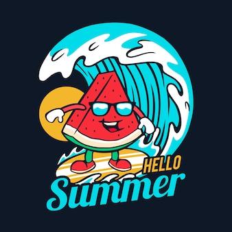 Ilustración de verano sandía surf con gafas de sol