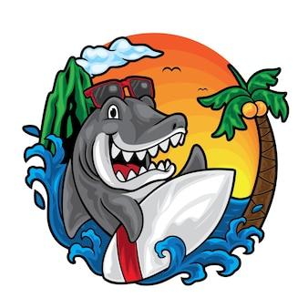 Ilustración de verano de surf de tiburón