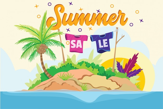 Ilustración de verano venta playa isla