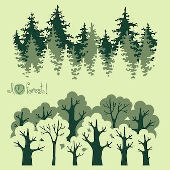 Ilustración de verde bosque caducifolio y bosque de coníferas.