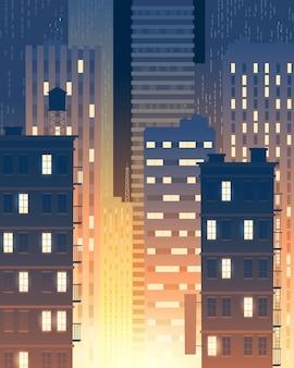 Ilustración vertical de edificios modernos en la noche, luces de las ventanas.