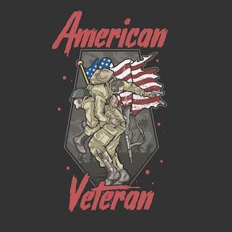 Ilustración de veterano del ejército de la hermandad americana