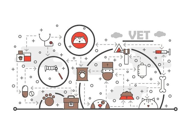 Ilustración de veterinario de arte de línea delgada de vector