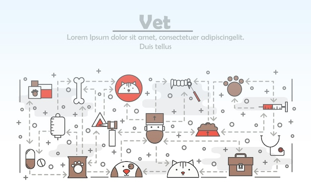 Ilustración de veterinario de arte de línea delgada de vector