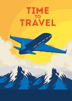 Ilustración de viaje con avión volando