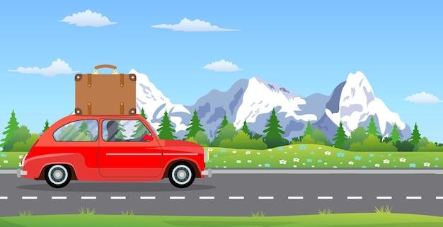 Ilustración de viaje por carretera, aventura, coche de época, recreación al aire libre, aventuras en la naturaleza, vacaciones