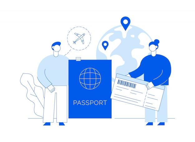 Ilustración de viaje con grandes personas modernas, hombre y mujer viajando por el mundo.
