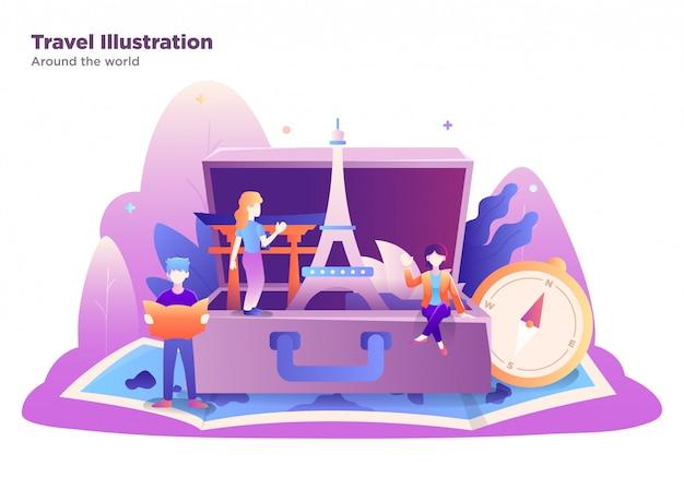 Ilustración de viaje con grupo de personas, estilo moderno, diseño plano