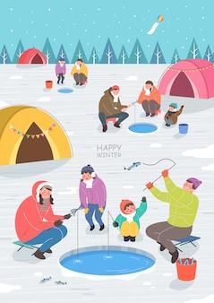 Ilustración de viaje de invierno emocionante y hermosa