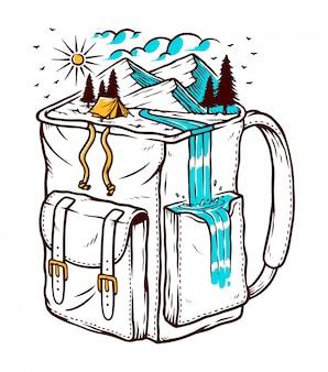 Ilustración de viaje para mochileros