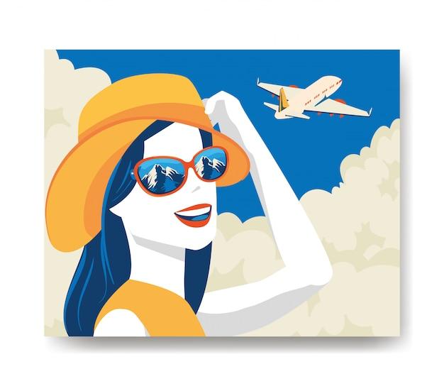Ilustración de viaje con mujer y avión